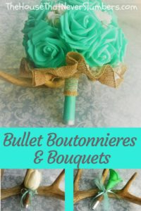 Bullet Boutonnieres and Bouquets - Yes. You read that correctly Bullet Boutonnieres and Bouquets! My daughter and her husband (who were married while still in high school, by the way) chose to incorporate ammunition into their wedding flowers. Who does that, right?!