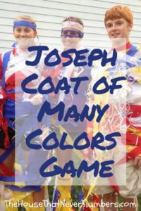 Joseph and the Coat of Many Colors Game - Don't miss this great youth ministry game for your Joseph Bible lesson. This idea is perfect for Sunday School, youth group, or Vacation Bible School. #joseph #sundayschool #youthgroup #bibleschool #biblegames #homeschooling