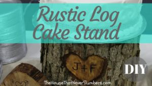 Rustic Log Cake Stand DIY - Find instructions for this rustic wedding cake stand and learn details of how we saved a fortune on wedding cake. #wedding #weddingcake #budgetwedding #diywedding #weddingday #weddingideas