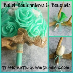Yes. You read that correctly Bullet Boutonnieres and Bouquets! My daughter and her husband (who were married while still in high school, by the way) chose to incorporate ammunition into their wedding flowers.