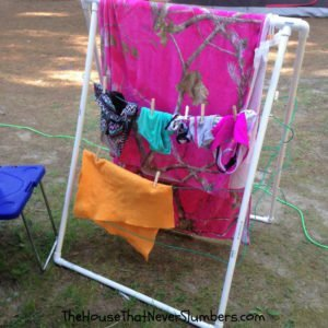 Camping Hacks from a Clueless Camper - PVC drying rack #camping #campinghacks #travel #vacation