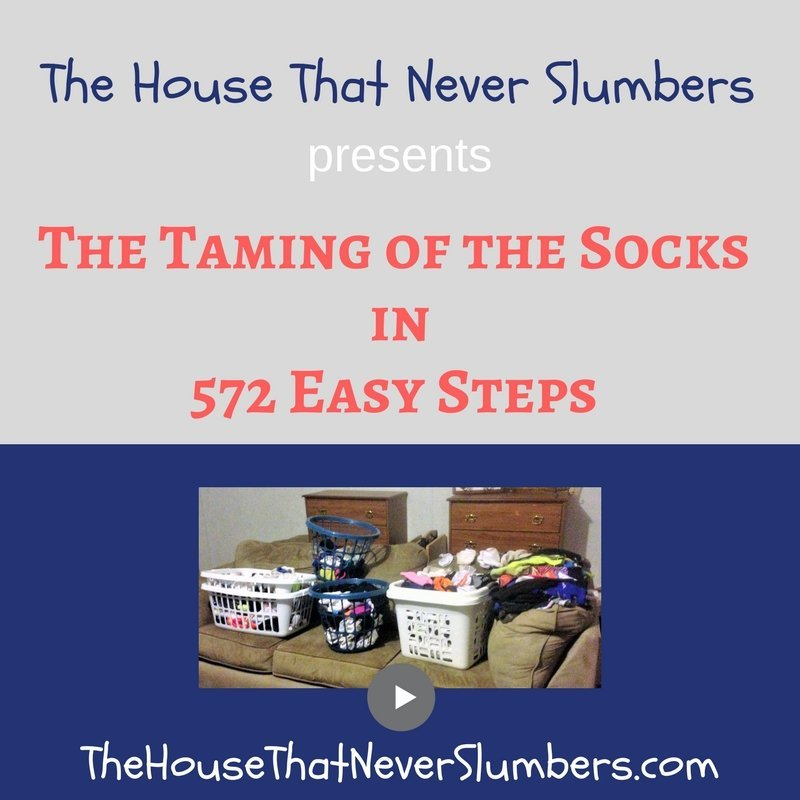 Watch as our family of seven tackles the daunting task of mating several laundry baskets full of mismatched socks. Will we succeed in our the mission? If your family has a sock problem, you need to see how we accomplished this goal in only 572 easy steps. You too can solve this common laundry nightmare once and for all. The House That Never Slumbers presents its first full-length feature film.