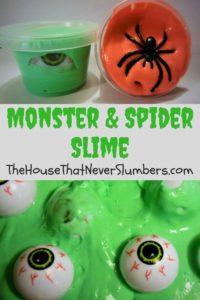 Monster Eyeball and Spider Slime Video Tutorial - #slime #DIY #kidsinthekitchen #scienceproject #Halloween #monsterparty #creepyslime