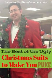 Ugly Christmas Suits to Make You Puke - We are bringing you the finest list of Ugly Christmas Suits on the web! As if Ugly Christmas Sweaters weren't bad enough, the latest holiday trend taking the fashion world by storm is Ugly Christmas Suits. What is this world coming too? People spend their hard-earned dollars to intentionally look as hideous as possible. Yeah, I know. It was insane enough when people were paying to buy already ripped, holey jeans!