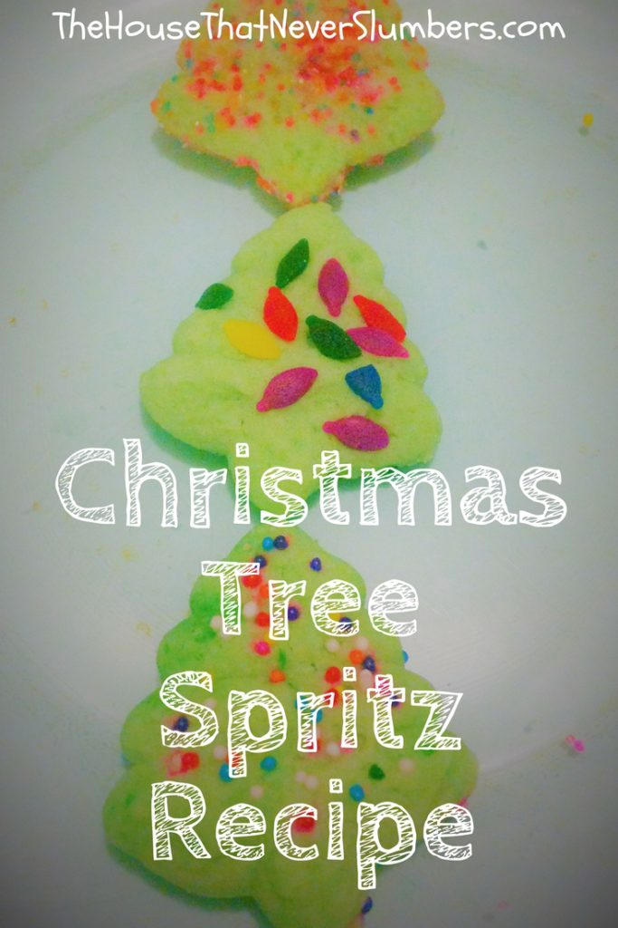 "Christmas Tree Spritz Recipe - Christmas Tree Spritz makes an adorable addition to any holiday platter. This versatile basic recipe can be altered in color and shape to form many different festive Christmas Spritz variations. You'll want to add this cream cheese Spritz recipe to your line-up of homemade Christmas treats. Spritz (or more accurately Spritzgebäck) is a traditional German Christmas biscuit. Spritzen is a German verb meaning ""to squirt"" because this Spritz is squirted through a cookie press."
