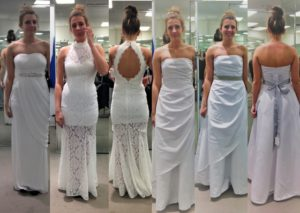 How to Find the Perfect Cheap Wedding Dress - My daughter trying on different dresses