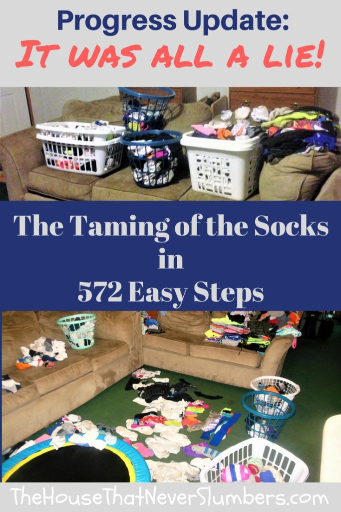 The Taming of the Socks in 572 Easy Steps Progress Update - It was all a lie! Some of you will remember a video post we aired a while back called The Taming of the Socks in 572 Easy Steps. We thought it would be nice to update you on our progress since that video. Unfortunately, our sock matching skills are lacking. You can catch my scandalous confession in this video!