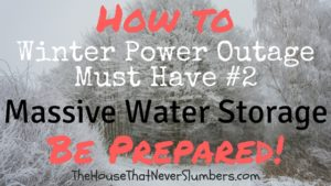 Winter Storm Preparedness - Massive Water Storage on the Cheap -  In order to protect and provide for your family in any winter storm power outage, you must have adequate water storage. Experts consider one gallon of water per person per day to be an appropriate level of water supplies. For a large family, that's a lot of water! Keep in mind any animals will also need water. Fortunately, I came up with an ingenious way to store massive quantities of water at a very low cost.