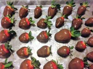 Chocolate Dipped Strawberries DIY Valentines - on a cookie sheet