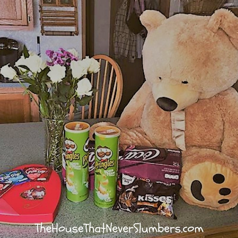 It's Not About Valentine's Day - giant teddy bear, flowers, candy