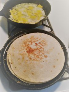 Quick and Easy Suppers for Busy Moms - Simple Chicken Quesadillas - on skillet 2