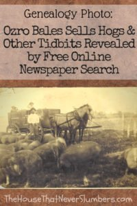Ozro Bales Sells Hogs - Free Online Newspaper Search - #genealogy #familytree #familyhistory #ancestor #ancestry #indianahistory