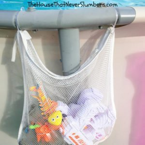 Cheap and Easy Dollar Store Pool Hacks - mesh pouch #swimmingpool #poolhack #pooltime #poolcare