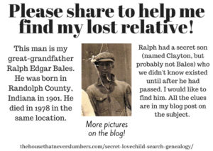 Search for Secret Lovechild of Ralph Bales - #genealogy #familyhistory #familytree #indianahistory