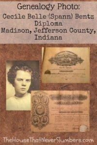 Cecile Belle Spann Bentz Diploma - Madison Township Schools, Jefferson County, Indiana 1909 - #genealogy #familyhistory #familytree #ancestry #ancestors #indianahistory #jeffersoncountyindiana #diploma