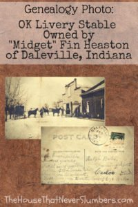 """OK Livery Stable Owned by """"Midget"""" Fin Heaston of Daleville Indiana - #genealogy #familyhistory #familytree #indianahistory #dalevilleindiana #randolphcountyindiana #ancestry #historicbuildings"""