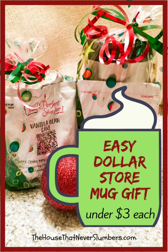 Easy Dollar Store Mug Gift - Make these cozy mug gifts for teachers, coaches, neighbors, and friends! Each one can be put together for under $3. #gifts #easygifts #frugalchristmas #giftsets #muggifts #inexpensivegifts #dollarstore #dollartree #christmas