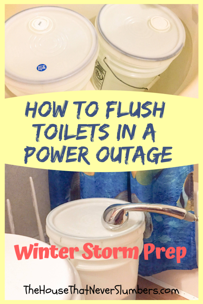 How to Flush Toilets in a Power Outage - Flushing toilets can become a major problem with no electricity, but with a little planning, you can make several flushes possible. Find out the easy way to flush toilets in a power outage. #winterstorm #flushtoilets #poweroutage #icestorm #survival #offgrid