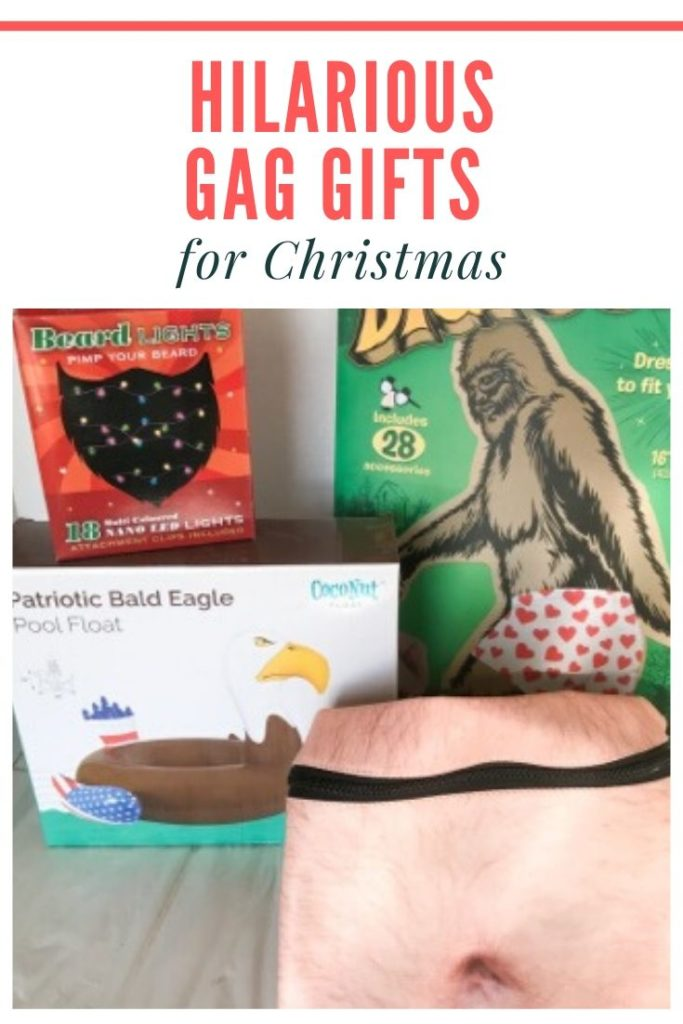 Hilarious Gag Gifts for Christmas - Big Foot dress-up, beard Christmas lights, bald eagle pool float, man gut fanny pack