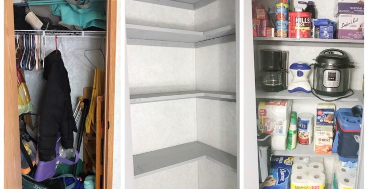 Coat Closet to Pantry Conversion - Before and After