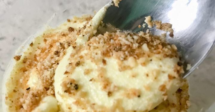 Keto Banana Pudding on a Spoon