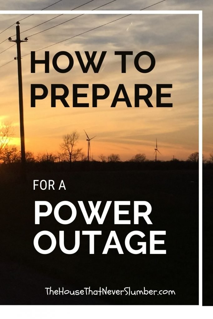 Prepare for a Power Outage - electric lines and windmills in front of a sunset